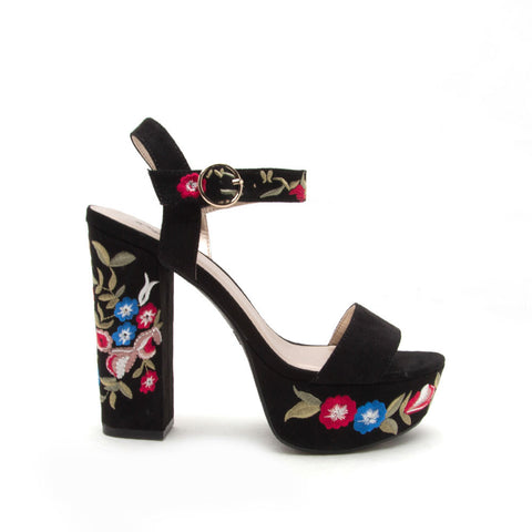 Crush-28 Black Embroidered Platform Sandal