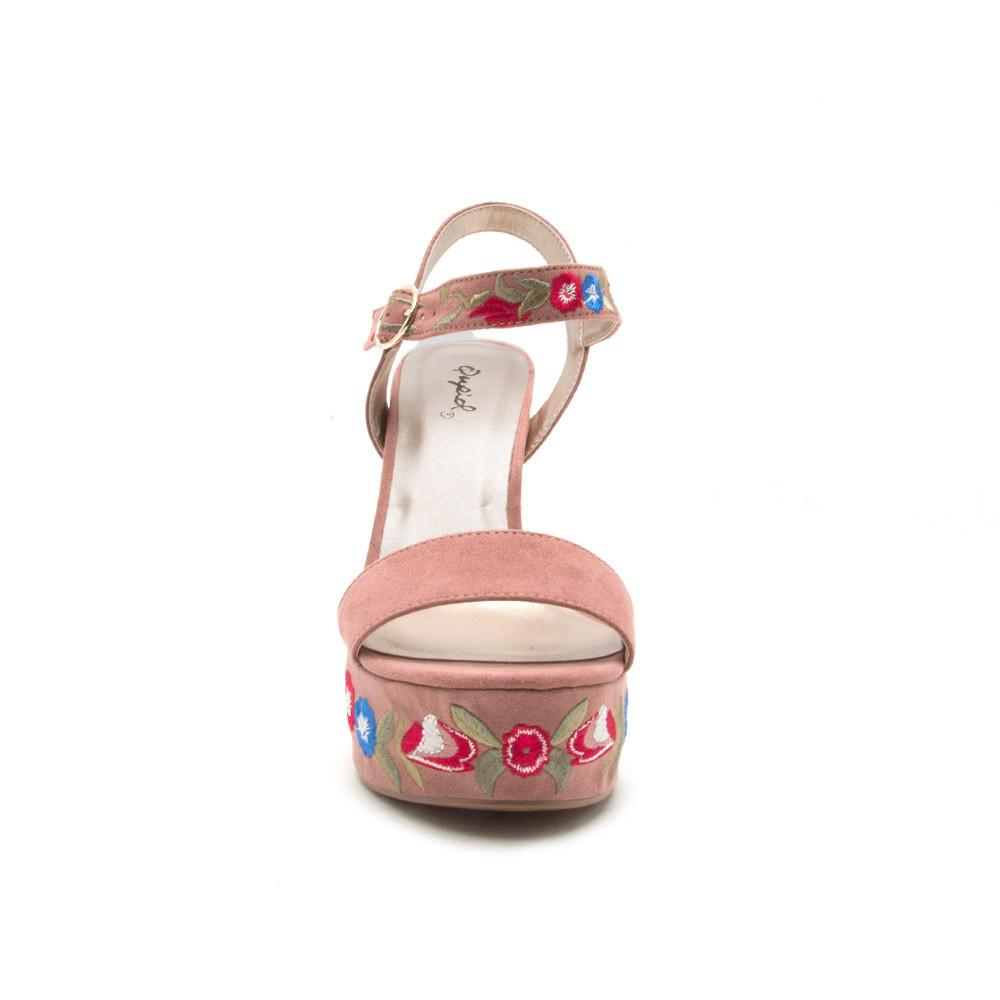 Crush-28 Mauve Embroidered Platform Sandal