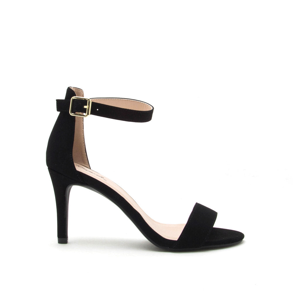 Cullen-12 Black Nubuck One Band Ankle Strap Sandal