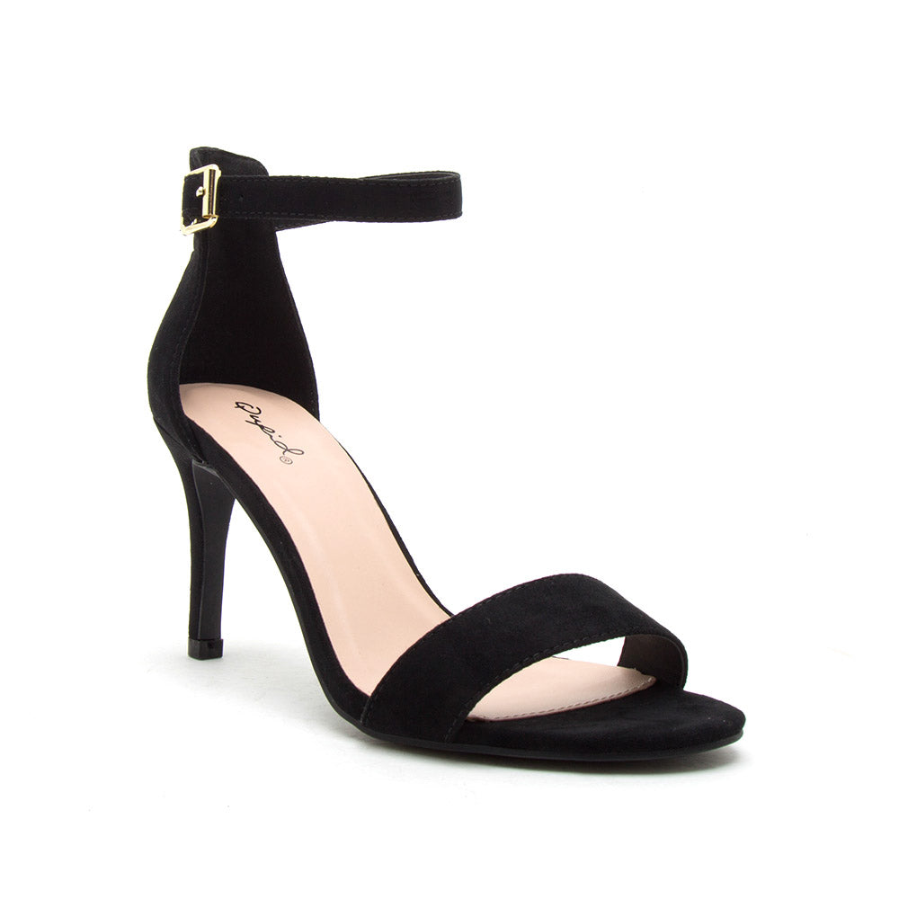 Cullen-12 Black Suede One Band Ankle Strap Sandal