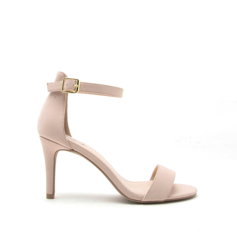Cullen-12 Nude Nubuck One Band Ankle Strap Sandal