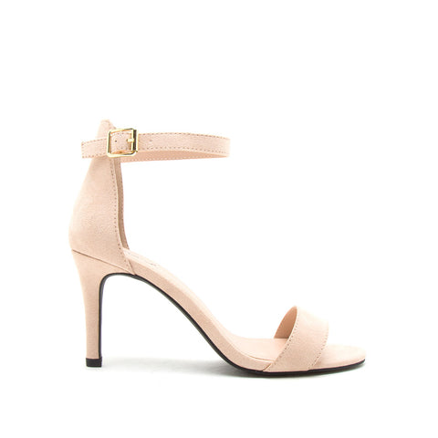 Cullen-12 Nude Suede One Band Ankle Strap Sandal