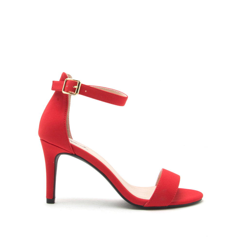 Cullen-12 Red One Band Ankle Strap Sandal