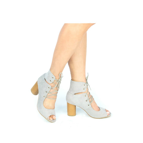 CYLINDER-03 Light Grey Lace Up Peep Toe Bootie