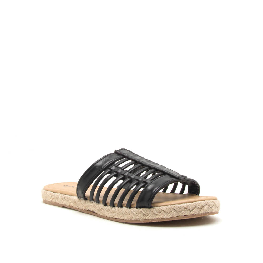 Dalisha-02 Black Strappy Slides
