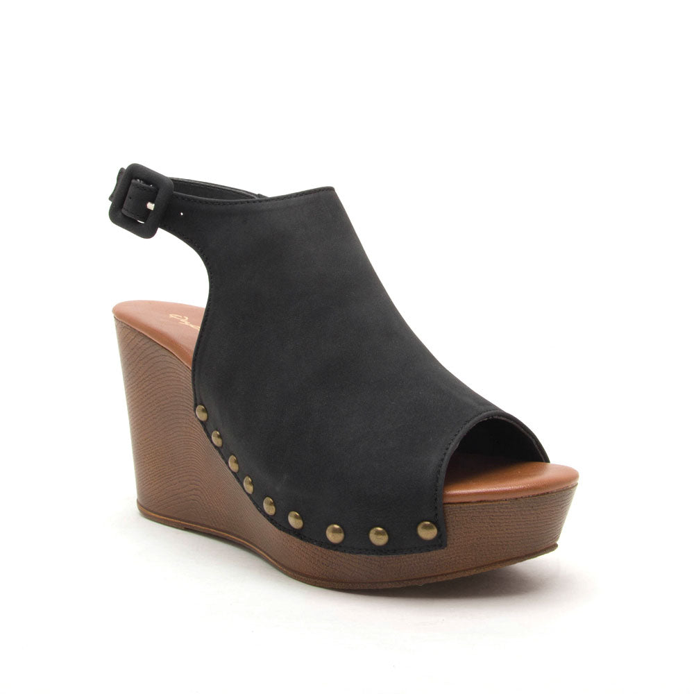 Dalora-01 Black Mule Slingback Wedge
