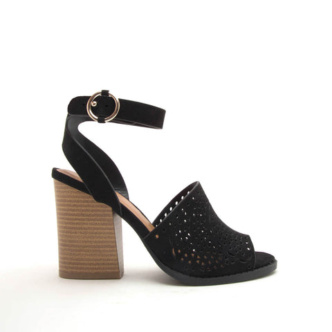 Dayoff-27 Black Perforated Wood Sandals