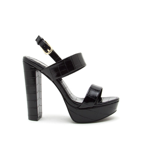 Dearly-08 Black Crocodile Block Heels