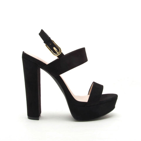 Dearly-08 Black Block Heels