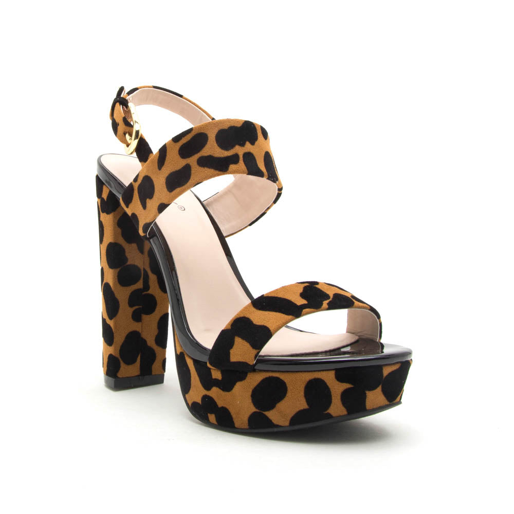 Dearly-08 Camel Black Leopard Block Heels