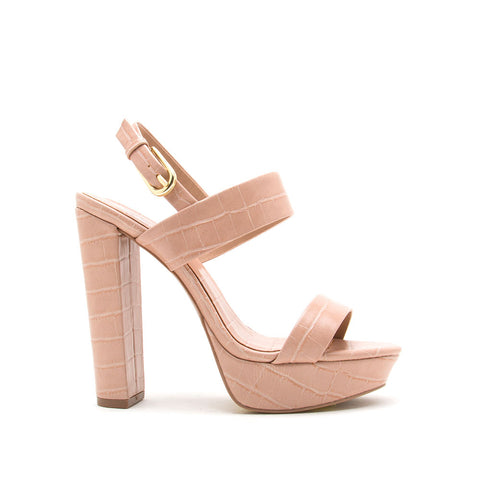 Dearly-08 Nude Crocodile Block Heels