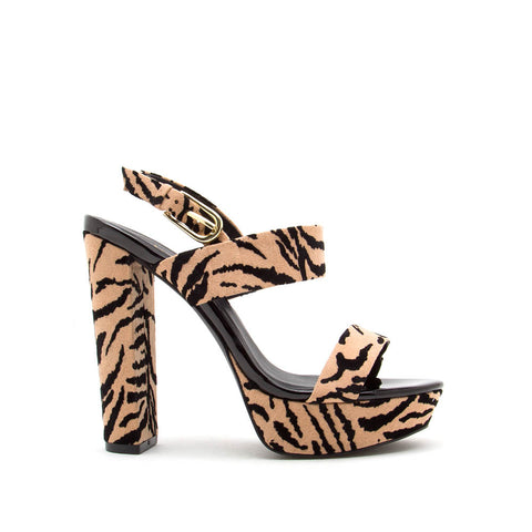 Dearly-08 Tan Black Tiger Block Heels