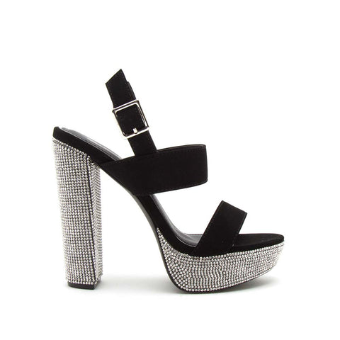 Dearly-46 Black Double Band Slingback Heels