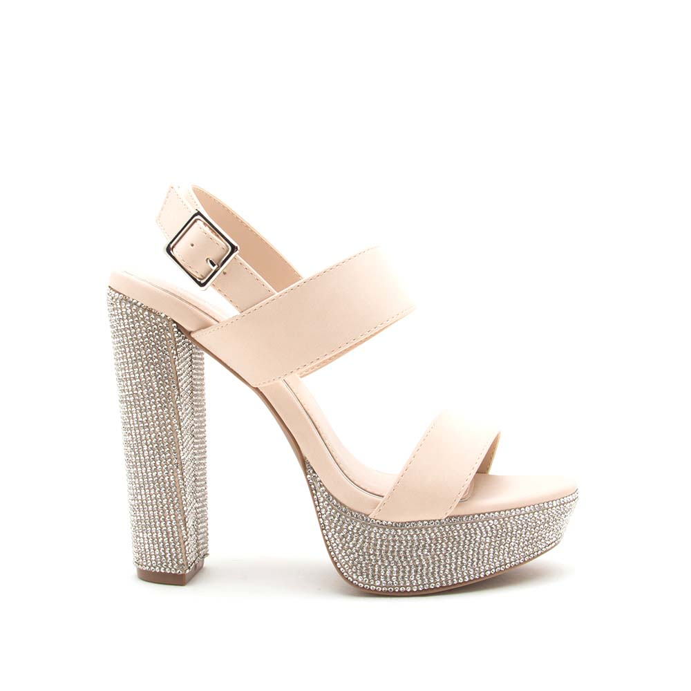 Dearly-46 Nude Double Band Slingback Heels