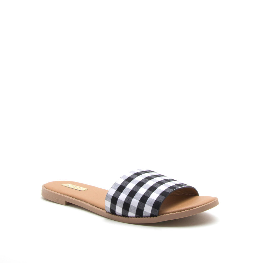 Desmond-01 Black White One Band Sandal