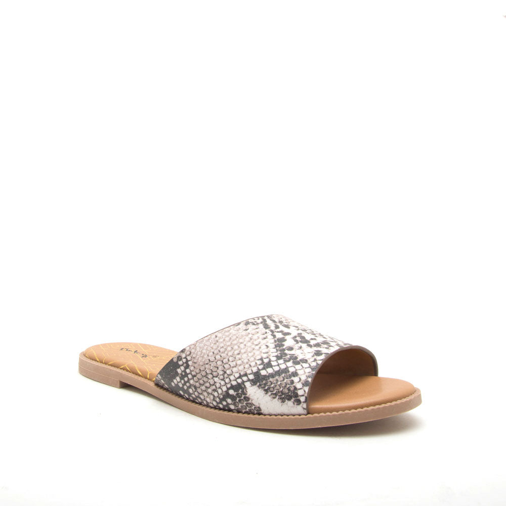 Desmond-22X Beige Brown Snake One Band Sandals