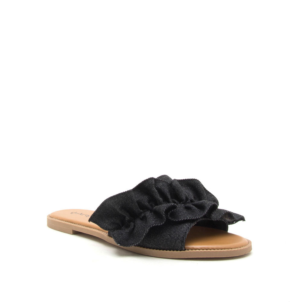 Desmond-45X Black Denim Ruffled One Band Slide