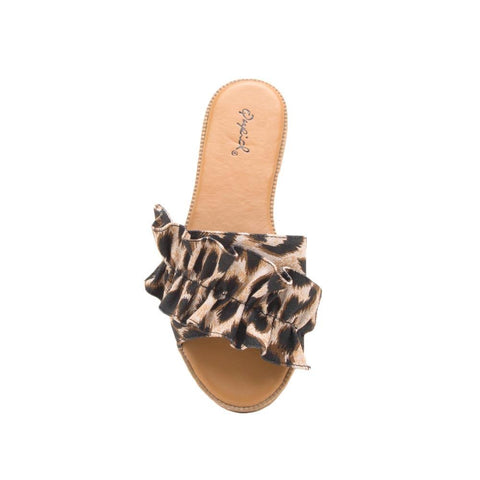 Desmond-45X Camel Leopard Ruffled One Band Slide