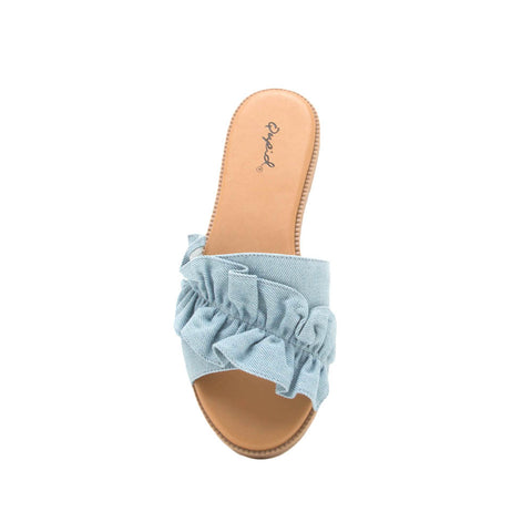 Desmond-45X Light Blue Denim Ruffled One Band Slide