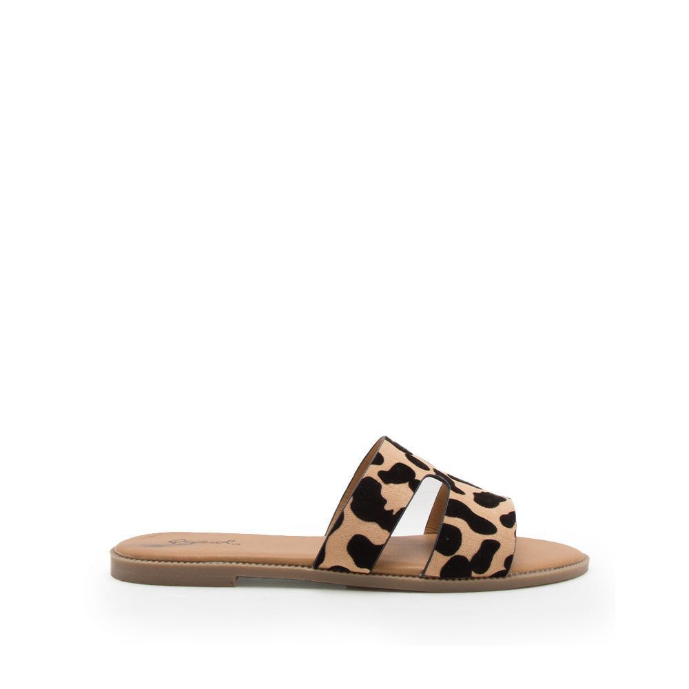 Desmond-75 Tan Black Leopard Single Band Slides