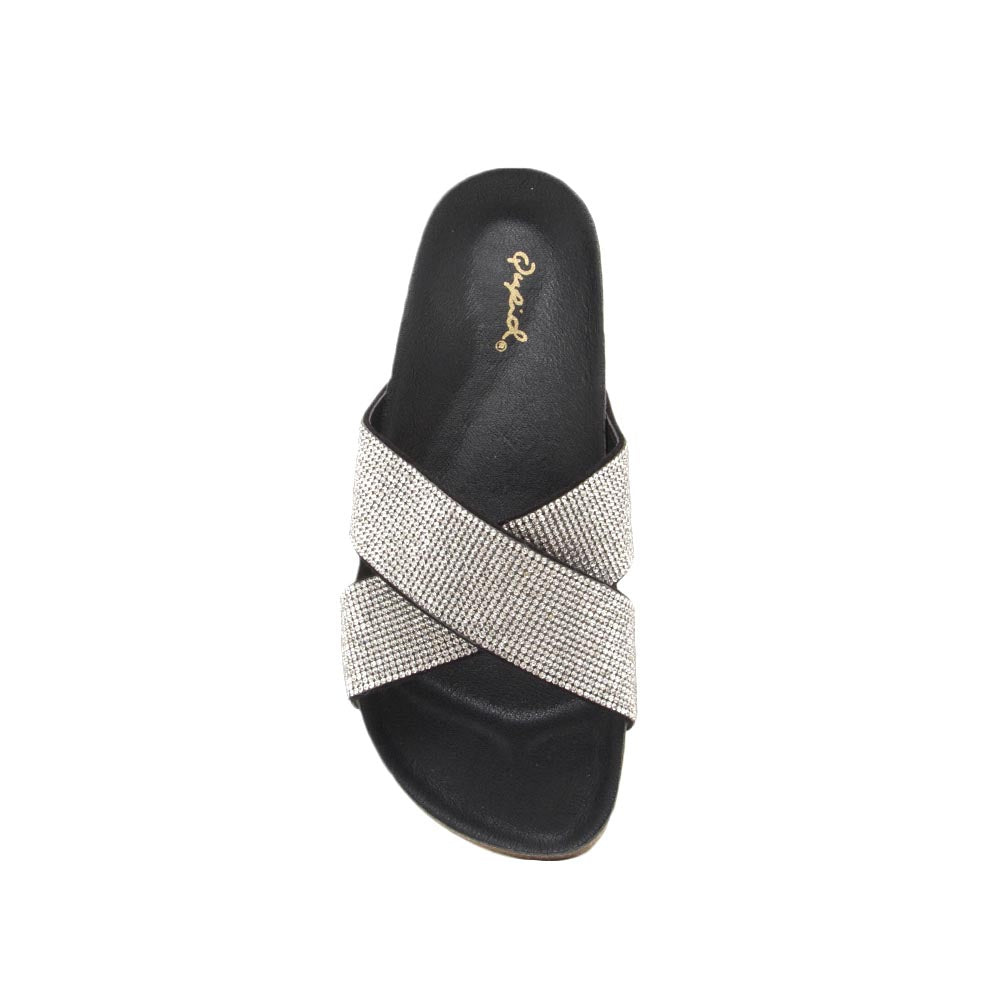 Dia-01 Black X Band Embellished Sandal