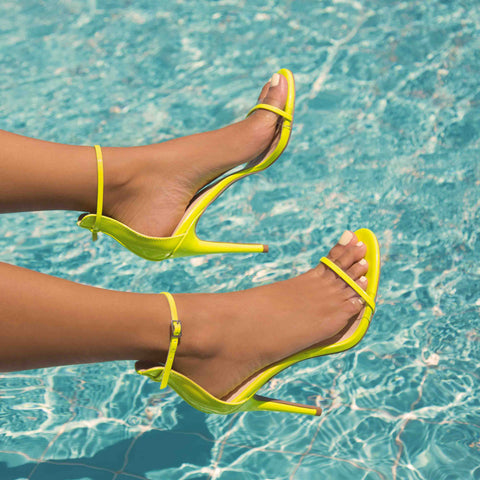 Diti-02AX Neon Yellow One Band Ankle Strap Sandal