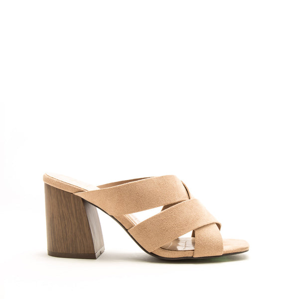 Dorcas-28AX Warm Taupe Strappy Mules