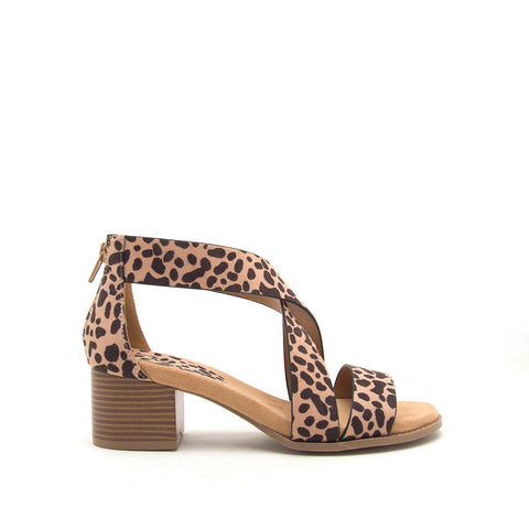 Doria-01E Tan Leopard X Band One Band Sandal