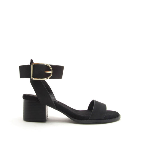 Doria-04E Black Nubuck Ankle Strap Sandals