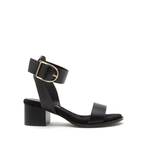 Doria-04E Black Leatherette Ankle Strap Sandals