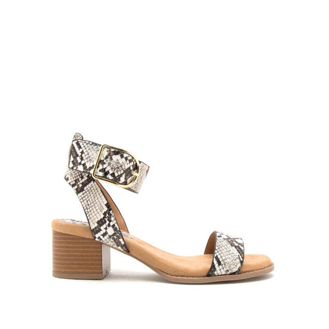 Doria-04E Ivory Brown Snake Ankle Strap Sandals