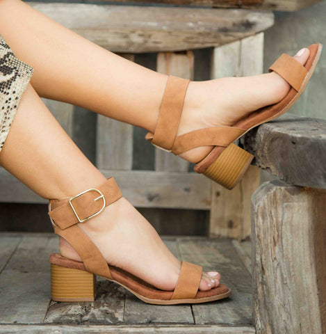 Doria-04E Camel Distressed Ankle Strap Sandals