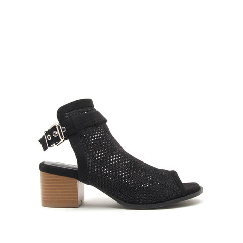 Doria-21E Black Perforated Mule Sandals