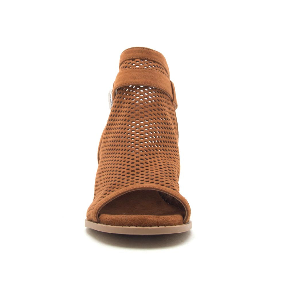 Doria-21E Chestnut Perforated Mule Sandals