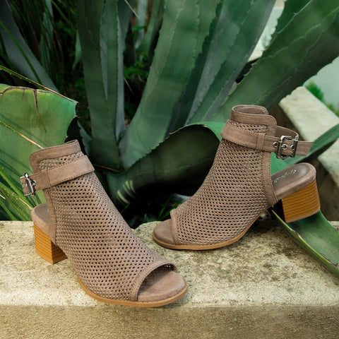 Doria-21E Taupe Perforated Mule Sandals