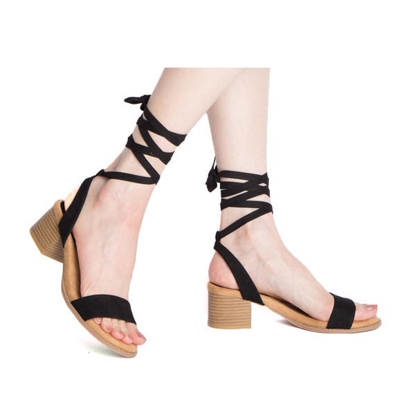 Doria-35E Black Single Band Wrap Sandals
