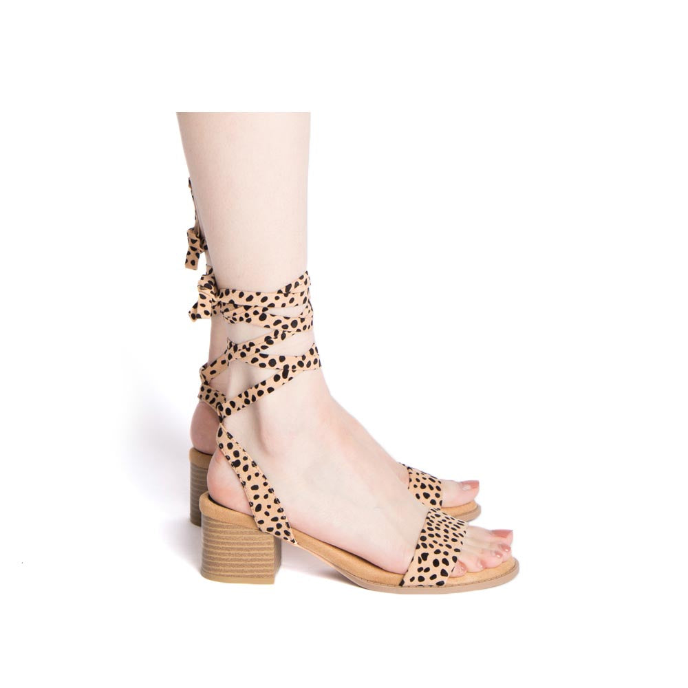 Doria-35E Tan Black Leopard Single Band Wrap Sandals