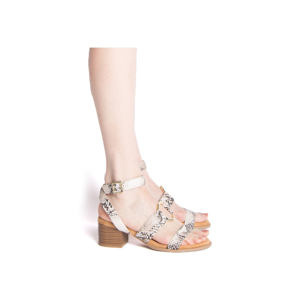 Doria-36E Beige Brown Snake Strappy O Ring Sandals
