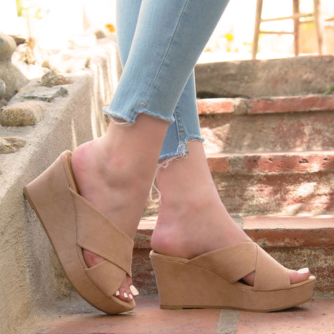 Ebbe-17 Warm Taupe X Band Wedge Sandal