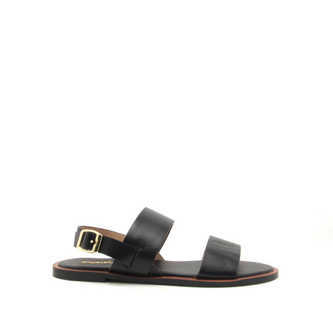 Electric-04 Black Two Band Slingback Sandals