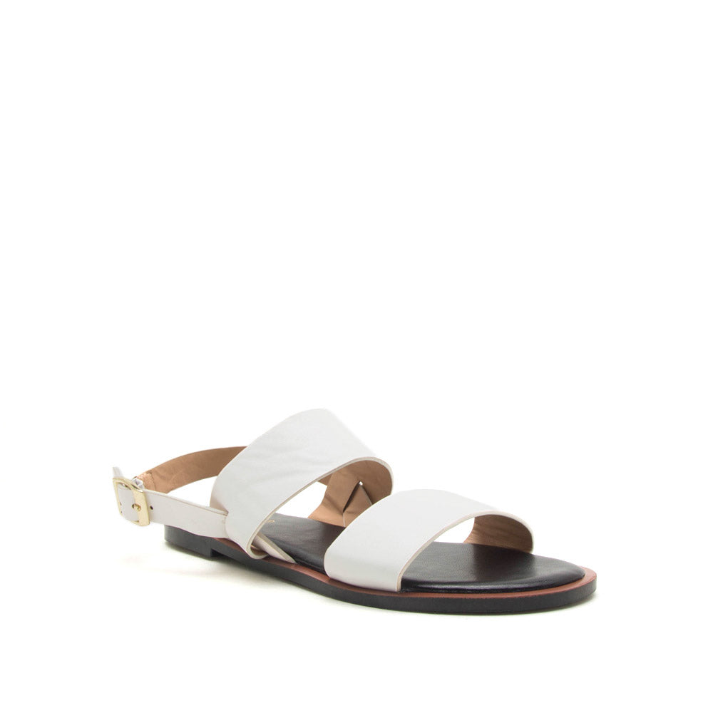 Electric-04 White Two Band Slingback Sandals
