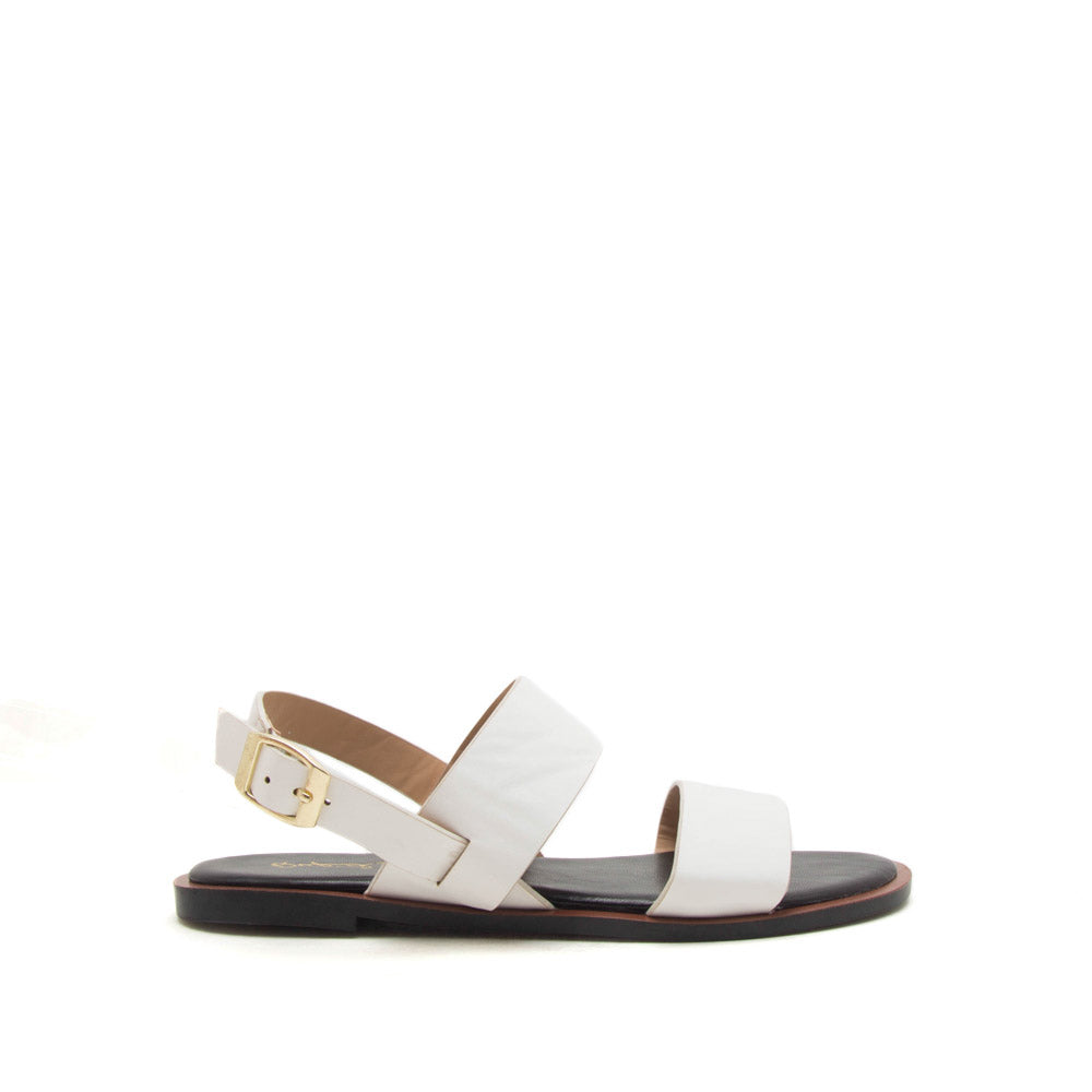 3b274f7ae833 Qupid Women Shoes Electric-04 White Two Band Slingback Sandals