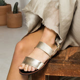 Electric-04 Champagne Metallic Two Band Slingback Sandals