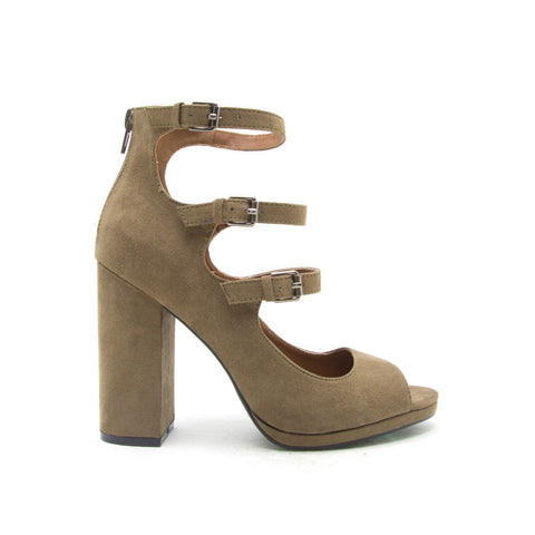 ELLIE-16 Khaki Mod Three Strap Heels