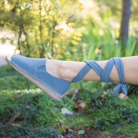 Elmore-12A Light Blue Denim Lace Up Ballerina