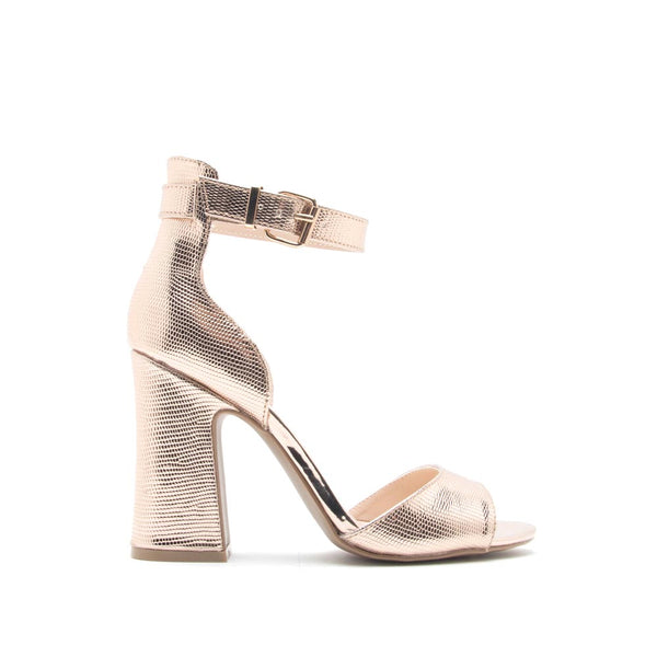 Everly-35 Rose Gold Metallic Lizard Ankle Strap Sandal