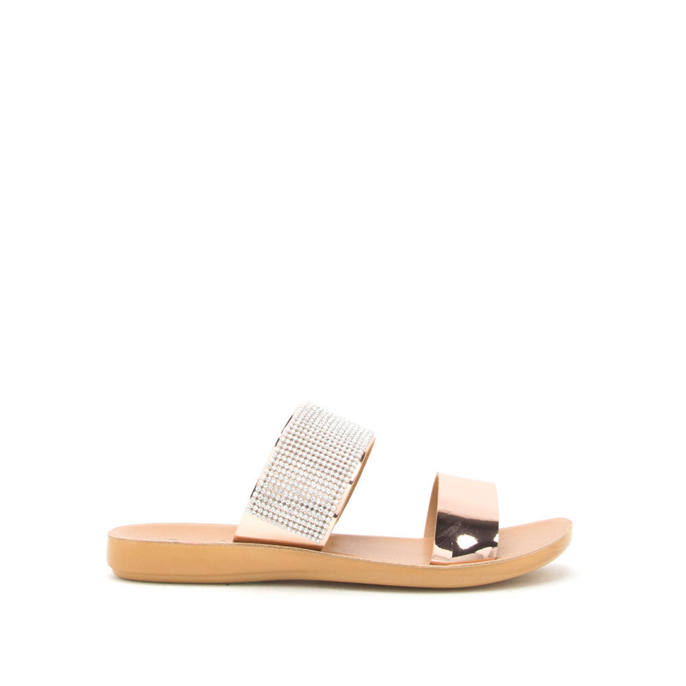 Eyecatch-01 Rose Gold Metallic Two Band Slide Sandal