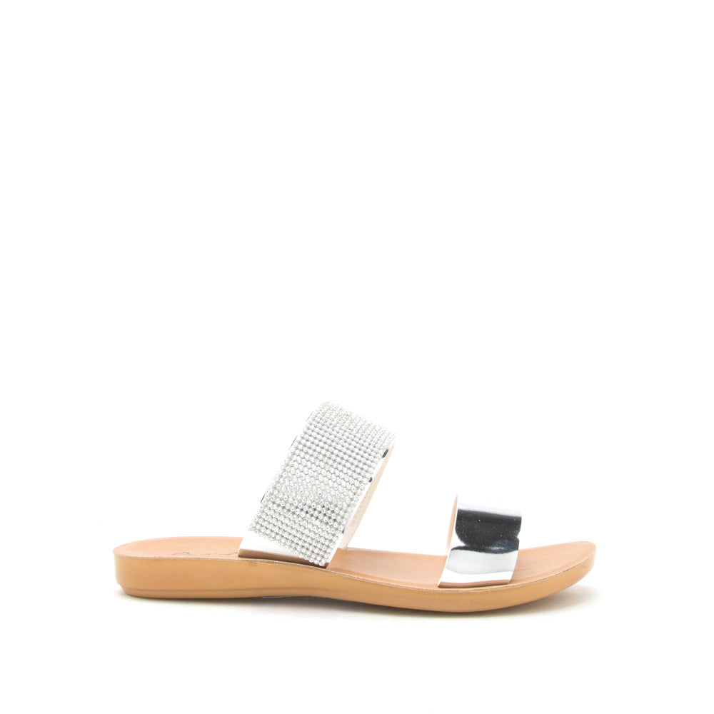 Eyecatch-01 Silver Metallic Two Band Slide Sandal