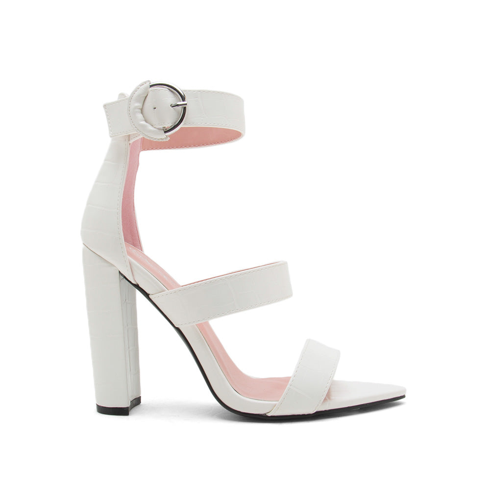 Eyeing-04 White Crocodile Strappy Sandals