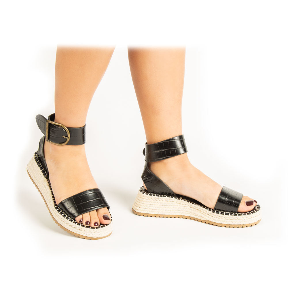 Fabio-01A Black Croco Single Band Wedge Sandals